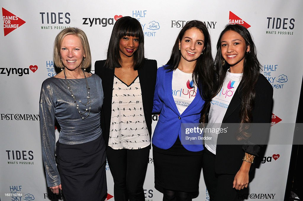 Kathy Calvin, Monique Coleman, guest and Alexa Brewster attend Games For Change presents the launch of Half The Sky Movement: The Game at No. 8 on March 4, 2013 in New York City.
