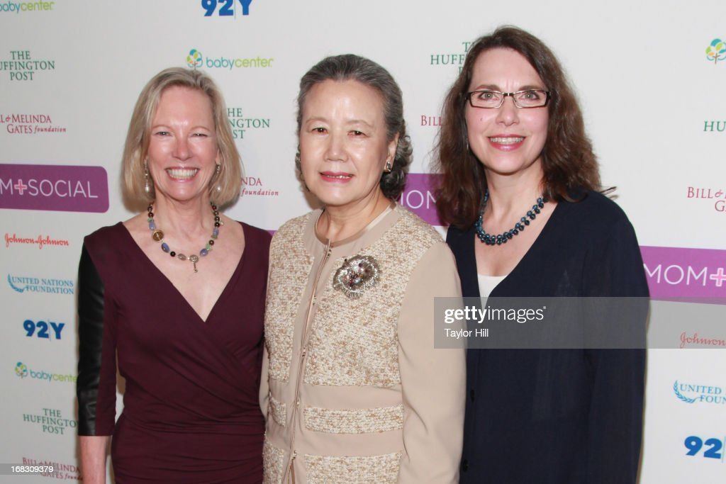 Kathy Calvin, Mrs. Ban Soon-taek, and Sharon D'Agostino attend the Mom + Social Event at the 92Y Tribeca on May 8, 2013 in New York City.