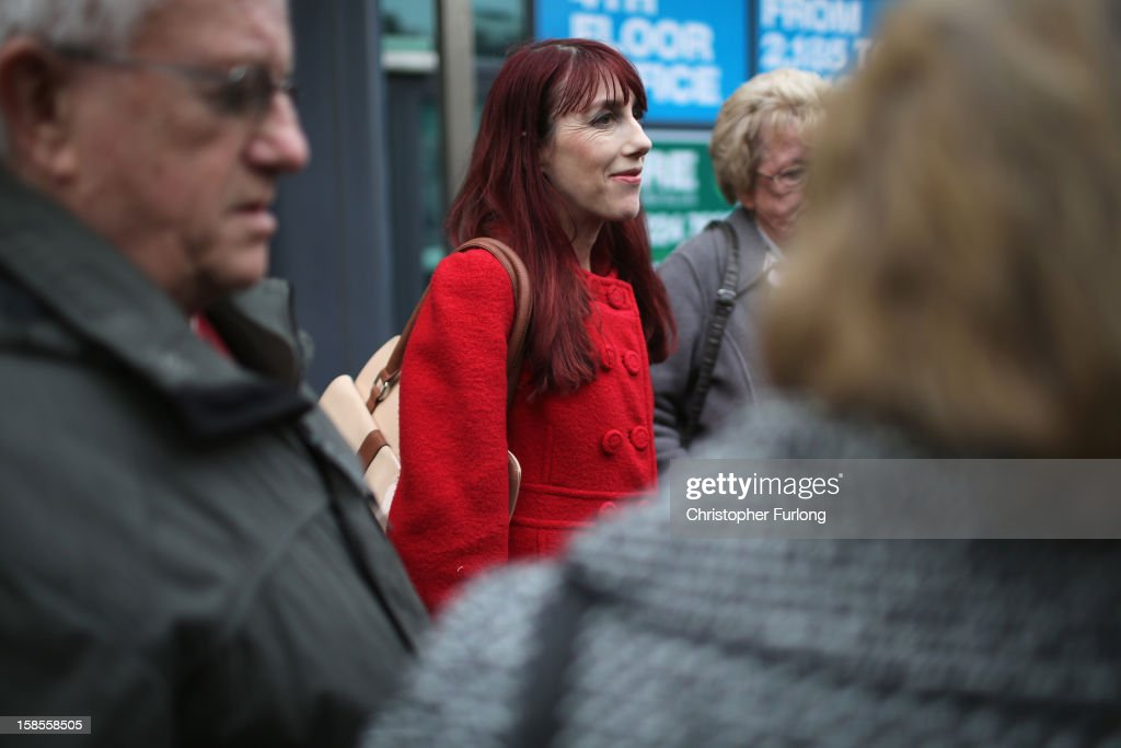 Kathy Crane (C), sister of Hillsborough victim Gary Jones, talks to the media outside Liverpool Family Court where she and other relatives watch the High Court inquest decision on video link on December 19, 2012 in Liverpool, England. An application presented by the Attorney General, Dominic Grieve to Lord Chief Justice Lord Judge has resulted in the quashing of the original accidental death verdict and an order for fresh inquests. The Hillsborough disaster occurred during the FA Cup semi-final tie between Liverpool and Nottingham Forest football clubs in April 1989 at the Hillsborough Stadium in Sheffield, which resulted in the deaths of 96 football fans.