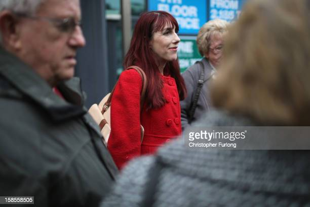 Kathy Crane sister of Hillsborough victim Gary Jones talks to the media outside Liverpool Family Court where she and other relatives watch the High...