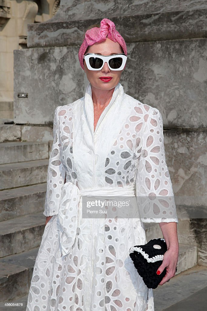 Kathy from Melbourne wears a 'Micky In The Van' Dress and 'LAspecs ' Glasses on September 24 2014 in Paris France