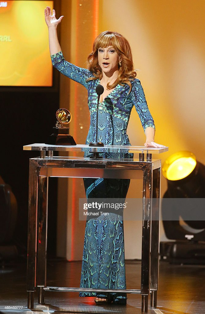 <a gi-track='captionPersonalityLinkClicked' href=/galleries/search?phrase=Kathy+Griffin&family=editorial&specificpeople=203161 ng-click='$event.stopPropagation()'>Kathy Griffin</a> accepts the Best Comedy Album award for 'Calm Down Gurrl' onstage during the 56th GRAMMY Awards held at Staples Center on January 26, 2014 in Los Angeles, California.