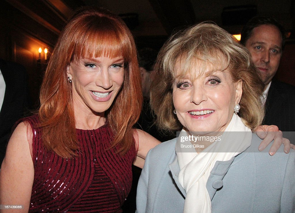 Kathy Griffin and Barbara Walters attend the 'I'll Eat You Last: A Chat With Sue Mengers' Broadway opening night at The Booth Theater on April 24, 2013 in New York City.
