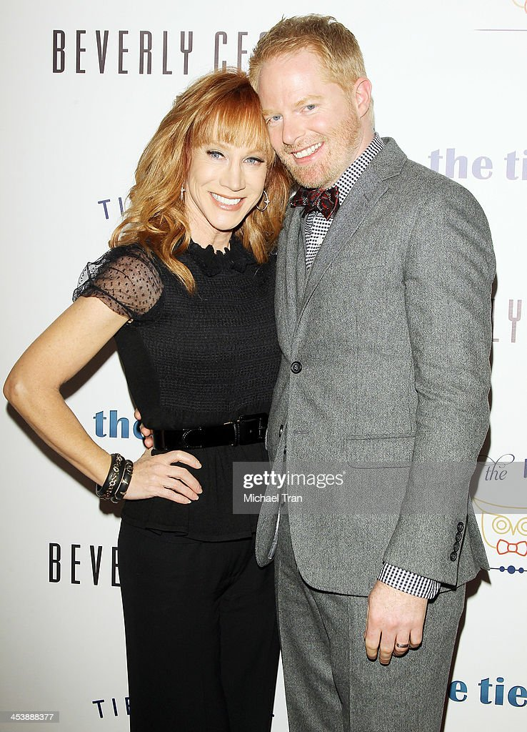 Kathy Griffin (L) and Jesse Tyler Ferguson arrive at the 'Tie The Knot' pop-up store opening held at The Beverly Center on December 5, 2013 in Los Angeles, California.