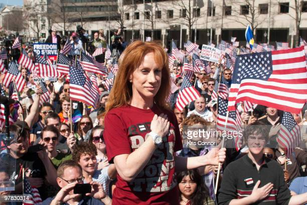 Kathy Griffin speaks during 'A Call To Action In DC' rally at the Freedom Plaza on March 18 2010 in Washington DC