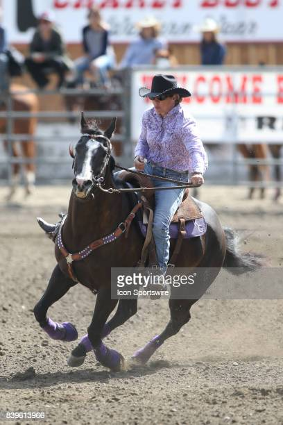 Kathy Grimes from Medical Lake WA scored a 1760 in the Slack Barrel Racing competition on August 25 2017 at the Kitsap County Fair and Stampede in...