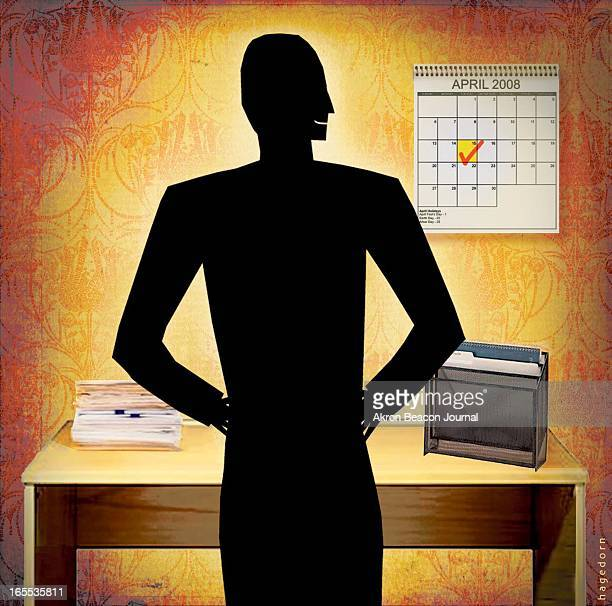 Kathy Hagedorn color illustration of smiling taxpayer facing the 15th checked in red on a wall calendar in front of organized neat desktop