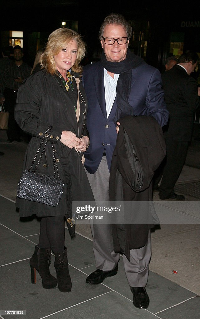<a gi-track='captionPersonalityLinkClicked' href=/galleries/search?phrase=Kathy+Hilton&family=editorial&specificpeople=209306 ng-click='$event.stopPropagation()'>Kathy Hilton</a> and Richard Hilton attend the Cinema Society with Swarovski & Grey Goose premiere of eOne Entertainment's 'Scatter My Ashes At Bergdorf's' at Florence Gould Hall on April 29, 2013 in New York City.