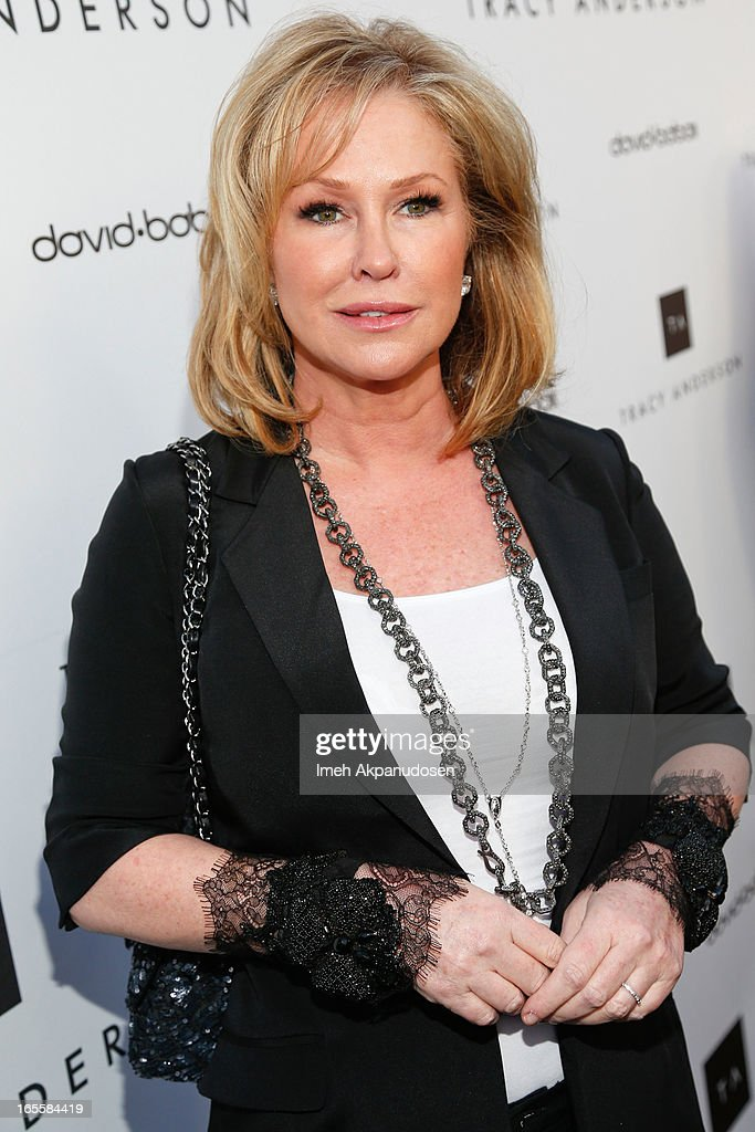 <a gi-track='captionPersonalityLinkClicked' href=/galleries/search?phrase=Kathy+Hilton&family=editorial&specificpeople=209306 ng-click='$event.stopPropagation()'>Kathy Hilton</a> attends the opening of Tracy Anderson flagship studio at Tracy Anderson Flagship Studio on April 4, 2013 in Brentwood, California.
