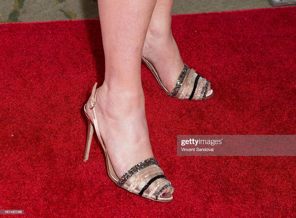 <a gi-track='captionPersonalityLinkClicked' href=/galleries/search?phrase=Kathy+Hilton&family=editorial&specificpeople=209306 ng-click='$event.stopPropagation()'>Kathy Hilton</a> (shoe detail) attends YWCA greater Los Angeles hosts The Rhapsody Ball fundraiser at Beverly Hills Hotel on November 8, 2013 in Beverly Hills, California.