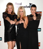 Kathy Hilton Kim Richards and Kyle Richards attend the 'Real Housewives of Beverly Hills' Season 3 premiere party at Hollywood Roosevelt Hotel on...