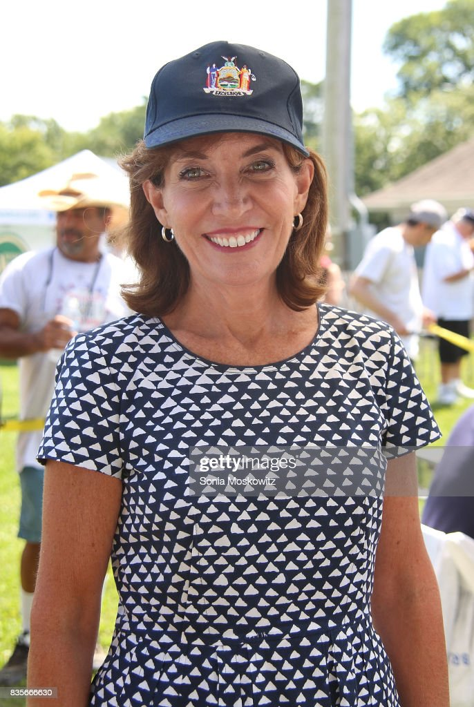 Kathy Hochul, NY Lieutenant Governor, attends the 69th Annual Artists and Writers Softball Game at Herrick Park on August 19, 2017 in East Hampton, New York.