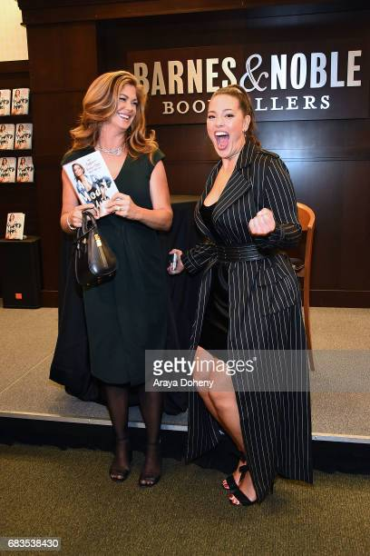 Kathy Ireland surprises Ashley Graham with a visit at her book signing event for her new book 'A New Model' at Barnes Noble at The Grove on May 15...