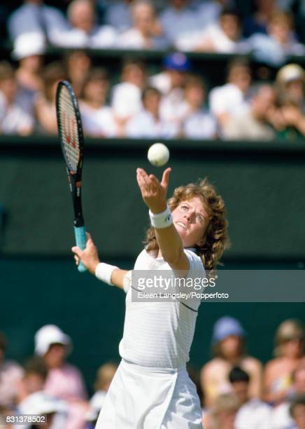 Kathy Jordan of the USA serving during a women's singles match at the Wimbledon Lawn Tennis Championships in London circa July 1984 Jordan was...