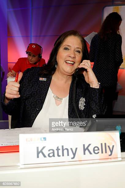 Kathy Kelly is seen in the studio of the RTL Telethon TV show on November 24 2016 in Cologne Germany The telethon is held every year and is on air...