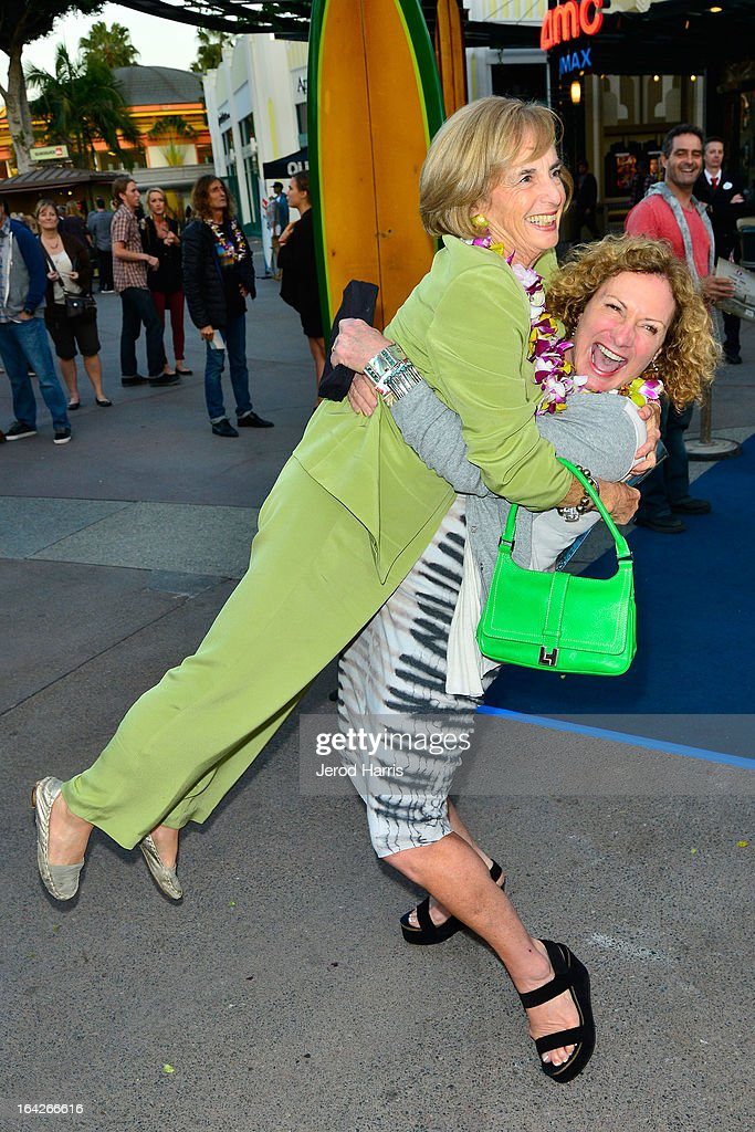 Kathy Kohner greets Jericho Poppler at Disney's 'A Deeper Shade Of Blue' surfing documentary premiere at AMC Downtown Disney 12 Theater on March 21, 2013 in Anaheim, California.