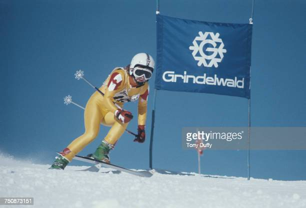 Kathy Kreiner of Canada skiing in the Women's Giant Slalom event on 9 January 1975 during the Alpine Skiing World Cup at Grindelwald Switzerland