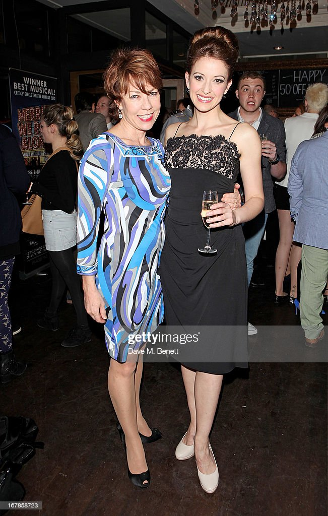 <a gi-track='captionPersonalityLinkClicked' href=/galleries/search?phrase=Kathy+Lette&family=editorial&specificpeople=604140 ng-click='$event.stopPropagation()'>Kathy Lette</a> (L) and Amy Ellen Richardson attend an after party celebrating the press night performance of the Menier Chocolate Factory's 'Merrily We Roll Along', following its transfer to the Harold Pinter Theatre, at Grace Restaurant on May 1, 2013 in London, England.