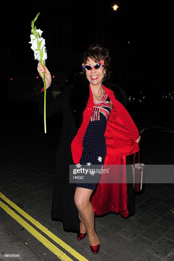 <a gi-track='captionPersonalityLinkClicked' href=/galleries/search?phrase=Kathy+Lette&family=editorial&specificpeople=604140 ng-click='$event.stopPropagation()'>Kathy Lette</a> attends an after party celebrating the press night performance of 'Barry Humphries' Eat, Pray, Laugh!' at One Mayfair on November 15, 2013 in London, England.