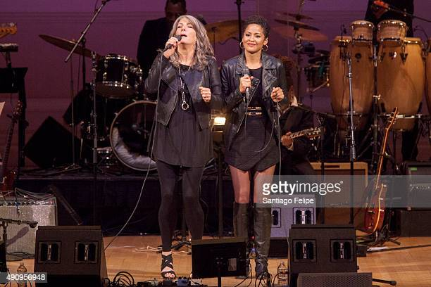 Kathy Mattea and Kori Withers perform onstage during 'Celebrating the Music of Bill Withers' at Carnegie Hall on October 1 2015 in New York City