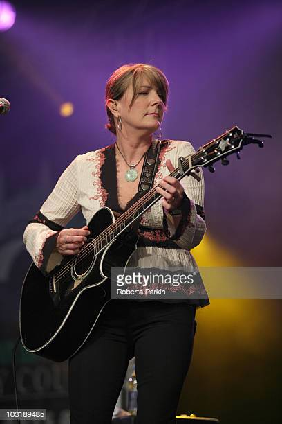 Kathy Mattea performs on stage during the third day of the CoOperative Cambridge Folk Festival at Cherry Hinton Hall on July 31 2010 in Cambridge...