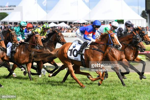 Kathy O'Hara riding Single Gaze in first lap before finishing runner up in Race 8 Caulfield Cup during Melbourne Racing on Caulfield Cup Day at...