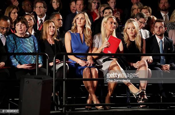 Kathy Shelton a guest Republican presidential nominee Donald Trump's daughtersinlaw Lara Trump and Vanessa Trump and daughter Tiffany Trump sit...