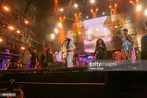 Kathy Sledge Nile Rodgers and Chaka Khan and friends on stage at the New Year's Eve Masterjam at Media City Amphitheatre on December 31 2014 in Dubai...