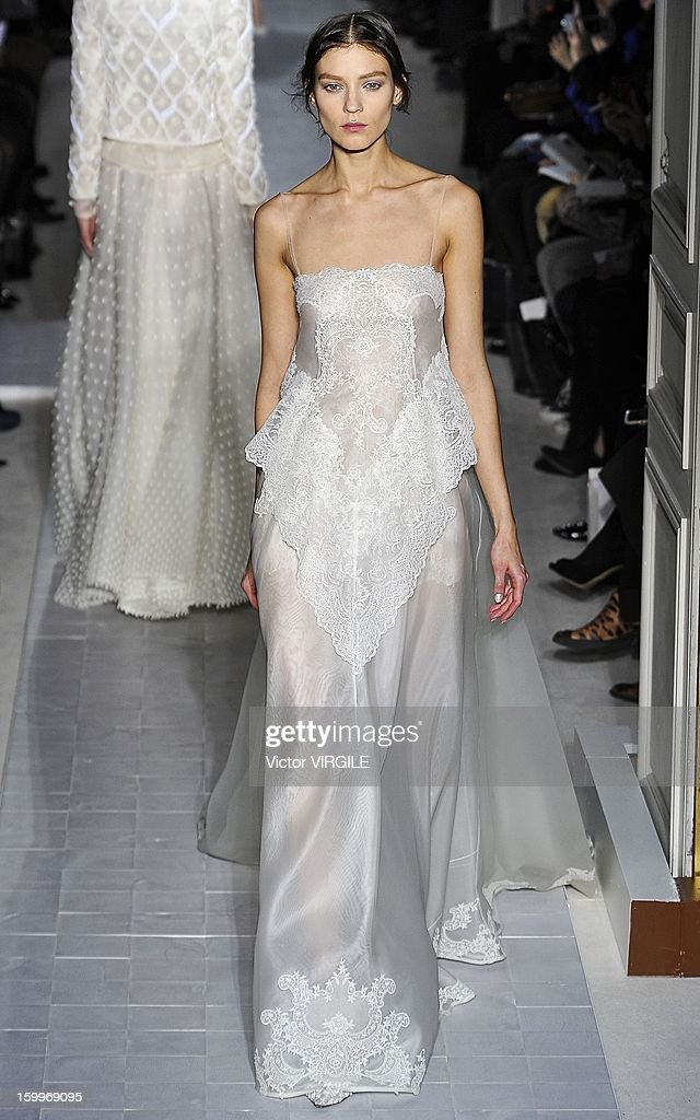 Kati Nescher walks the runway during the Valentino Spring/Summer 2013 Haute-Couture show as part of Paris Fashion Week at Hotel Salomon de Rothschild on January 23, 2013 in Paris, France.