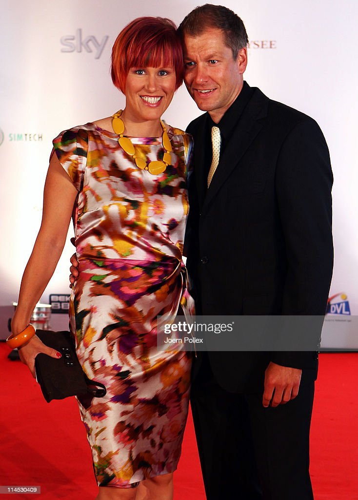 Kati Wilhelm and her friend Andreas Emslander arrive for the Herbert Award 2011 Gala at the Elysee Hotel on May 23 2011 in Hamburg Germany