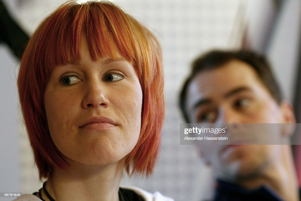 Kati Wilhelm and Michael Greis of Germany attend a press conference of the launch of the new Madshus ski on January 15 2010 in Ruhpolding Germany