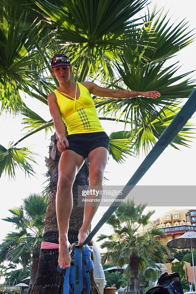 Kati Wilhelm balances on a slackline during the 'Champion des Jahres' event week at the Robinson Club Sarigerme Park on September 22 2009 in Mugla...