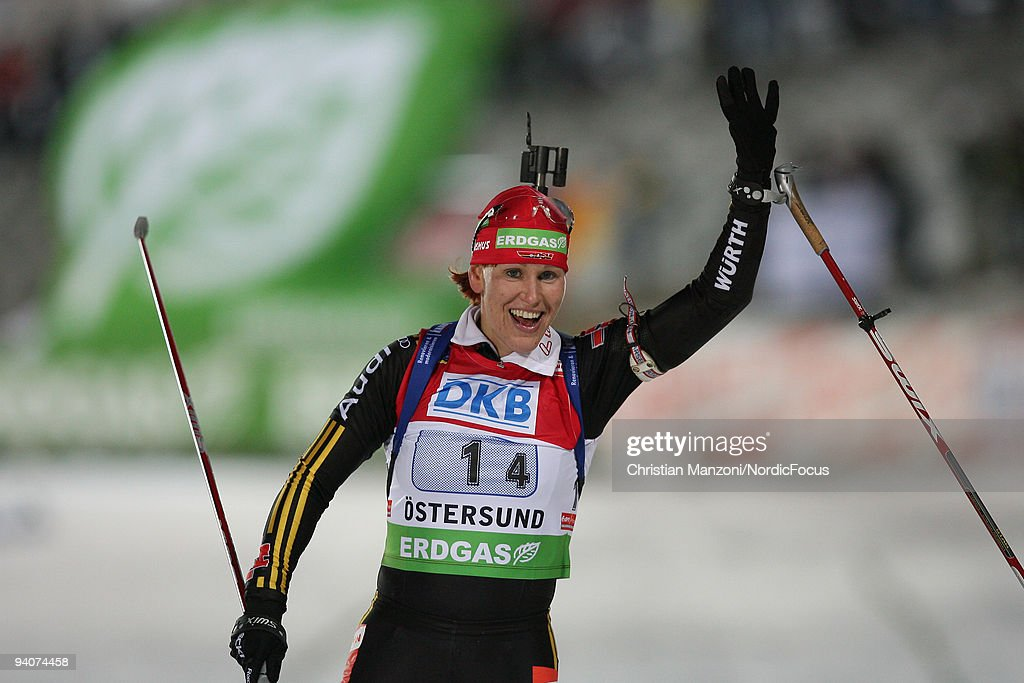 Kati Wilhelm of Germany celebrates after winning the Women's 4x6 km Relay in the EON Ruhrgas IBU Biathlon World Cup on December 6 2009 in Ostersund...