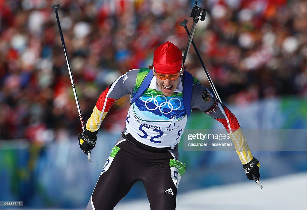 Kati Wilhelm of Germany competes during the Biathlon Women's 15 km individual on day 7 of the 2010 Vancouver Winter Olympics at Whistler Olympic Park...