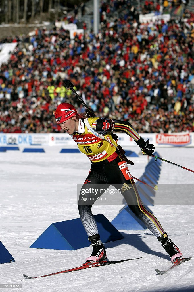 Kati Wilhelm of Germany competes during the IBU Biathlon World Championships Biathlon Ladies Sprint 7.5km event on February 3, 2007 in Antholz, Italy.