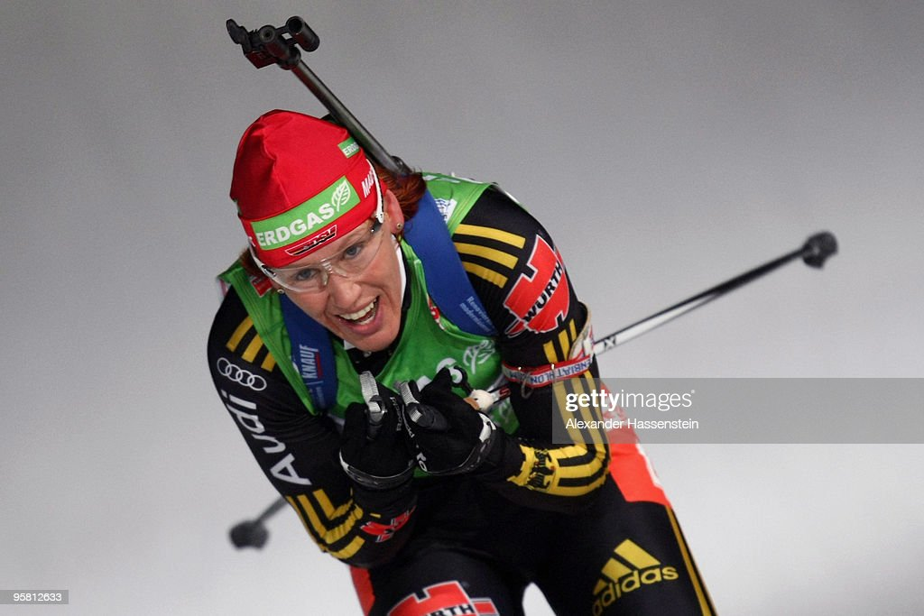 Kati Wilhelm of Germany competes during the Women Mass Start in the eon Ruhrgas IBU Biathlon World Cup on January 16 2010 in Ruhpolding Germany