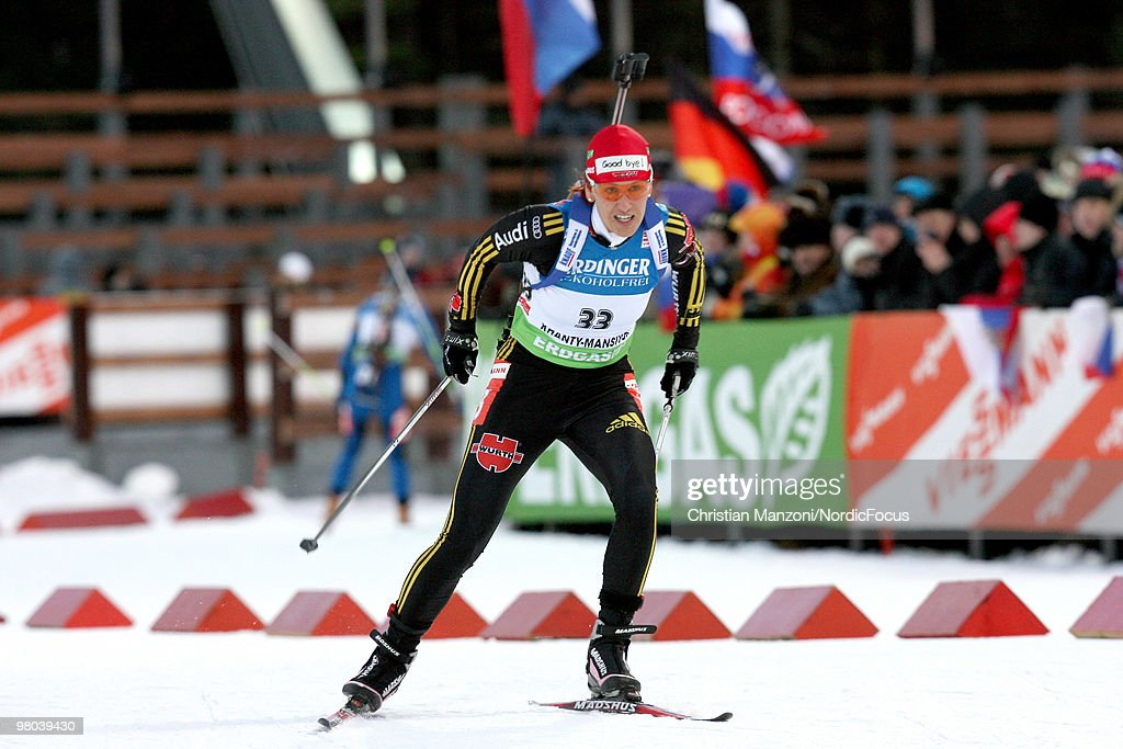 Kati Wilhelm of Germany competes with a 'Thank you' sign on her hat during the women's sprint in the EOn Ruhrgas IBU Biathlon World Cup on March 25...