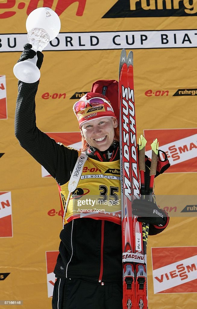 Kati Wilhelm of Germany poses after winning the the IBU Biathlon World Cup Women's 7,5km Sprint on March 23, 2006 in Holmenkollen, Norway.