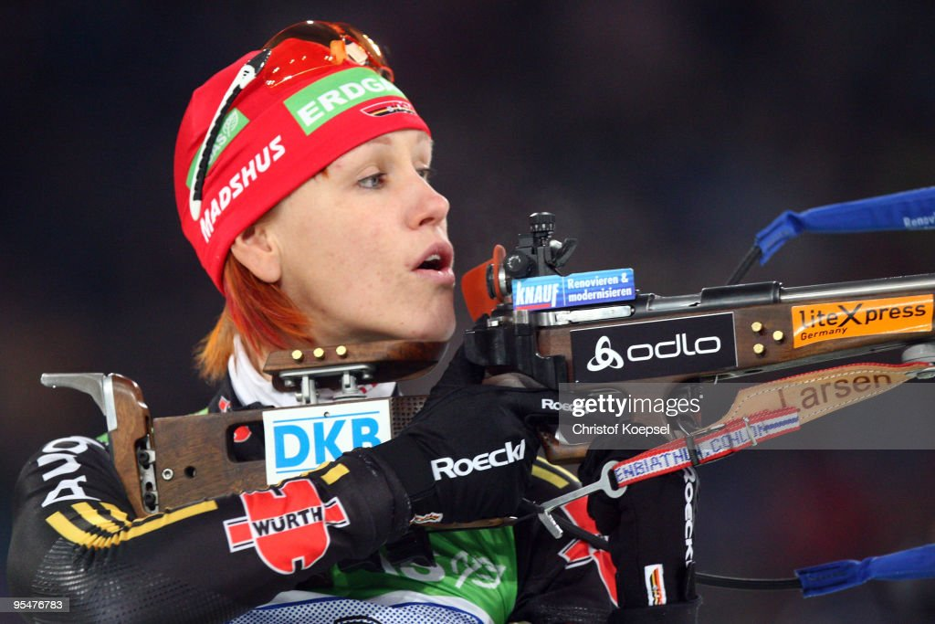 <a gi-track='captionPersonalityLinkClicked' href=/galleries/search?phrase=Kati+Wilhelm&family=editorial&specificpeople=213856 ng-click='$event.stopPropagation()'>Kati Wilhelm</a> of Germany shoots during the ODLO Biathlon World Team Challenge at the Veltins Arena on December 28, 2009 in Gelsenkirchen, Germany.
