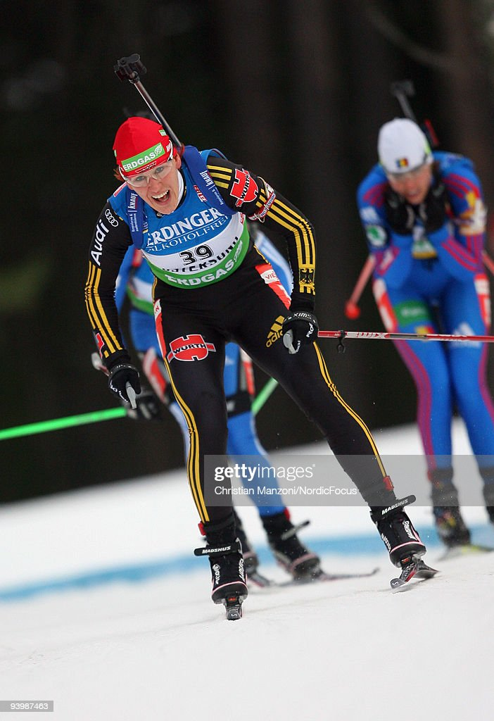 Kati Wilhelm of Germany skis during Women's 75 km Sprint of the EON Ruhrgas IBU Biathlon World Cup on December 5 2009 in Ostersund Sweden