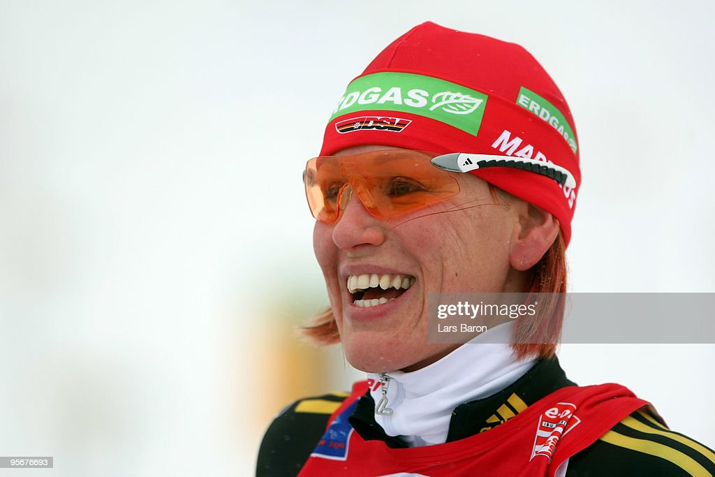 <a gi-track='captionPersonalityLinkClicked' href=/galleries/search?phrase=Kati+Wilhelm&family=editorial&specificpeople=213856 ng-click='$event.stopPropagation()'>Kati Wilhelm</a> of Germany smiles prior to the Women's 12,5 km mass start in the e.on Ruhrgas IBU Biathlon World Cup on January 10, 2010 in Oberhof, Germany.