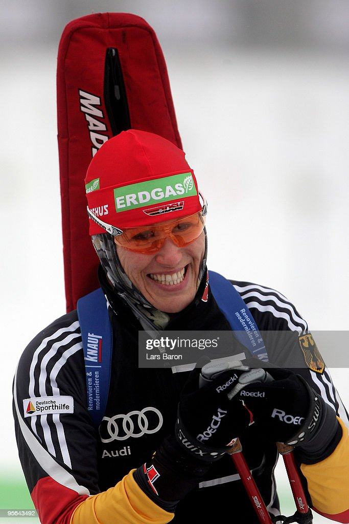 Kati Wilhelm of Germany smiles prior to the Women's 75km Sprint in the eon Ruhrgas IBU Biathlon World Cup on January 8 2010 in Oberhof Germany