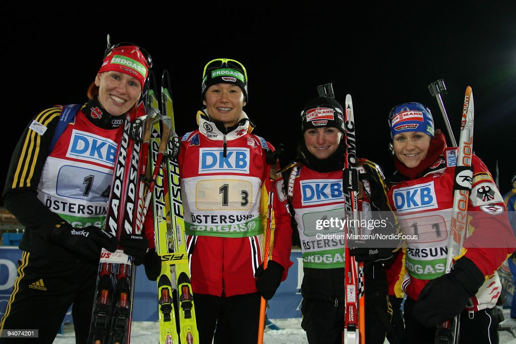 Kati Wilhelm Simone Hauswald Andrea Henkel and Martina Beck of Germany on 1st place in the Women's 4x6 km Relay in the EON Ruhrgas IBU Biathlon World...