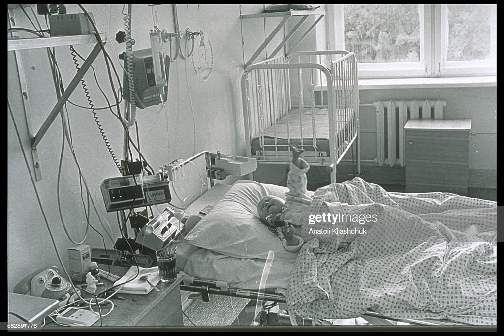 Katia aged 1 and half in the haematology center in Minsk suffering from leukaemia She died in august 1995