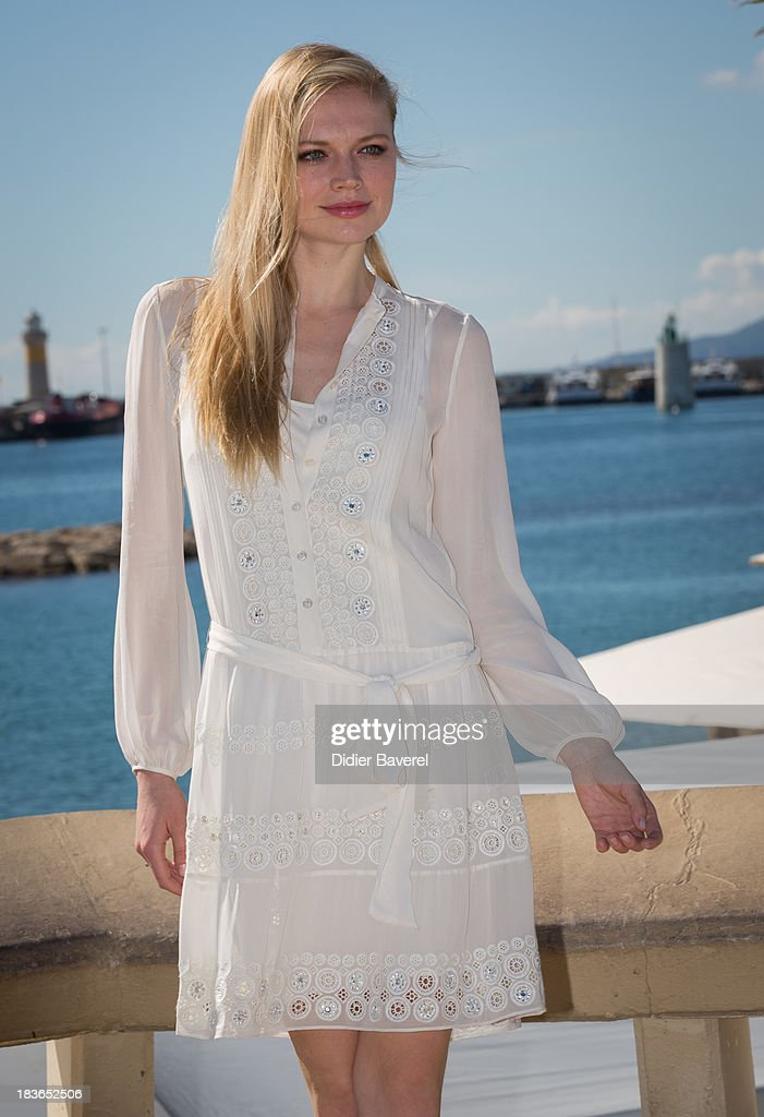 Katia Elizarova poses during a photocall of the reality TV show 'Meet the Russians' at Hotel Majestic on October 8, 2013 in Cannes, France.