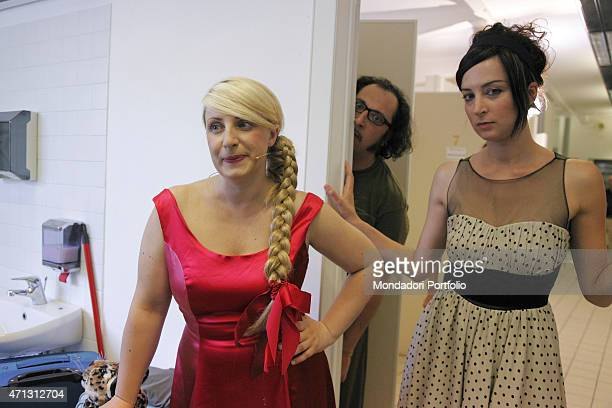 Katia Follesa and Marta Zoboli in the dressing room before going on stage behind them their colleague Marco Silvestri the Italian actors are the main...