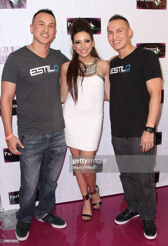 Katia Nicole (C) and the Verdugo Brothers attend Katia Nicole's Rave Music Video release party on May 4, 2013 in Los Angeles, California.