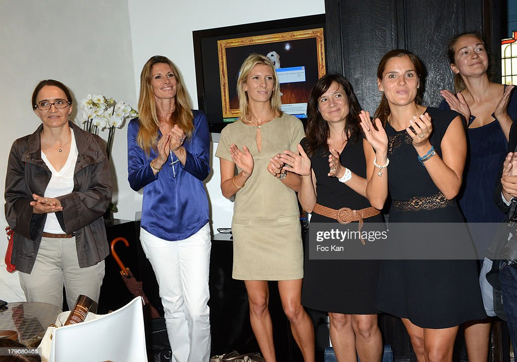 Katia Renard, Sophie Thalmann, Helene Boucher, Clementine Jean Philippe and guests attend the Duo Delice Dog Food Launch Party at 6 Mandel on September 6, 2013 in Paris, France.