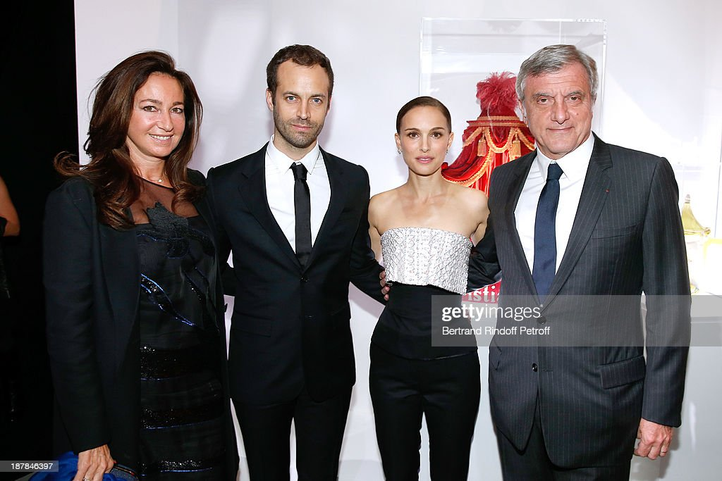 Katia Toledano, Choreographer Benjamin Millepied, Actress Natalie Portman and CEO Dior Sidney Toledano attend the 'Esprit Dior, Miss Dior' Exhibition Opening Cocktail event on November 12, 2013 in Paris, France.