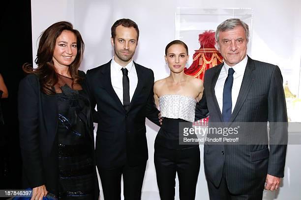 Katia Toledano Choreographer Benjamin Millepied Actress Natalie Portman and CEO Dior Sidney Toledano attend the 'Esprit Dior Miss Dior' Exhibition...